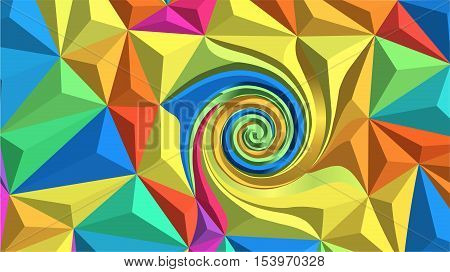 Low poly vector background - computer-generated image. Fractal art: colourful triangles and spiral. Trendy backdrop for banners, covers, posters.
