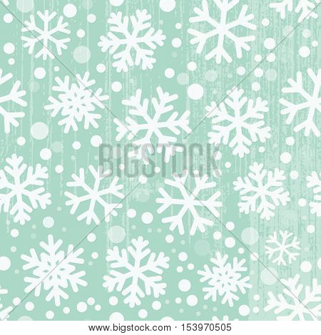 Seamless snowflakes pattern, grunge elements are grouped on a separate layer and easily editable