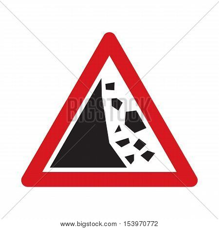 Traffic sign falling rocks or debris. Vector illustration.