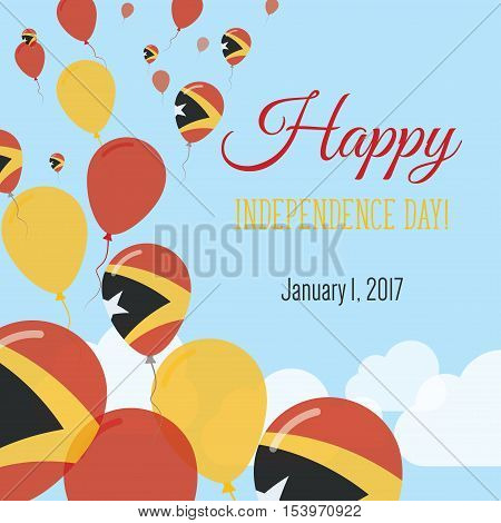 Independence Day Flat Greeting Card. Timor-leste Independence Day. East Timorese Flag Balloons Patri