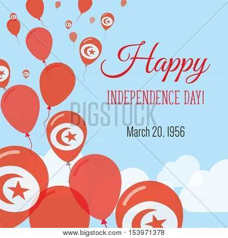 Independence Day Flat Greeting Card. Tunisia Independence Day. Tunisian Flag Balloons Patriotic Post