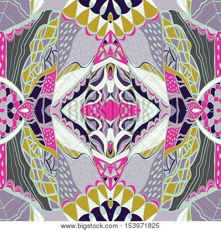 Traditional ornamental paisley bandanna. Pink, violet and yellow colors. Hand drawn colorful aztec pattern with artistic pattern. Bright colors. Seamless pattern can be used for  fills, background