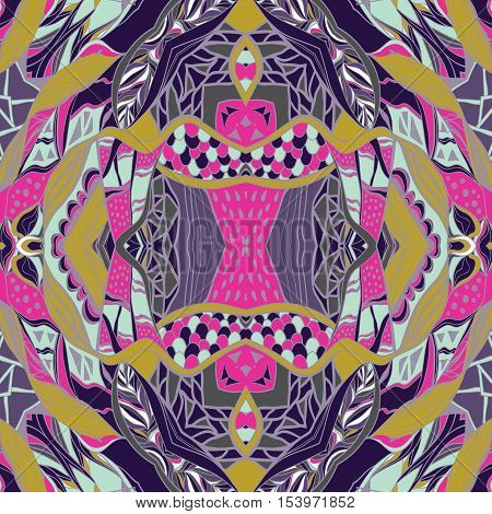 HTraditional ornamental paisley bandanna. Pink, violet and yellow colors. Hand drawn colorful aztec pattern with artistic pattern. Bright colors. Seamless pattern can be used for fills, background