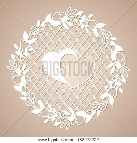 Openwork wreath of flowers with two hearts. Laser cutting template for decoration cards interior decorative elements.