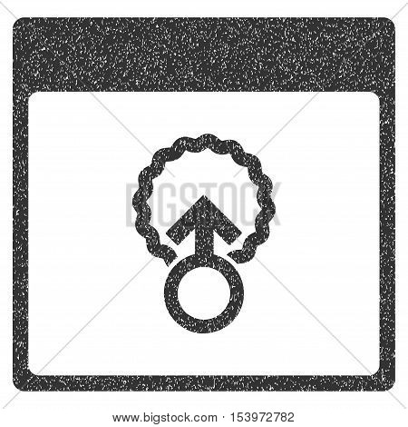 Cell Penetration Calendar Page grainy textured icon for overlay watermark stamps. Flat symbol with dirty texture. Dotted glyph gray ink rubber seal stamp with grunge design on a white background.