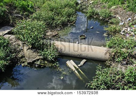 Very polluted river that runs through the village.