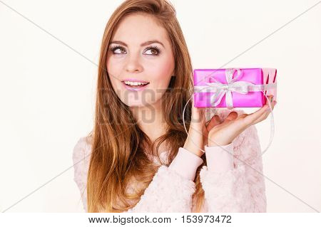 Lovely Woman With Pink Rose Box Gift