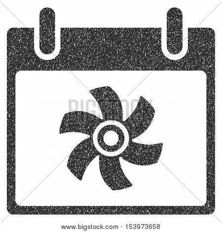 Fan Calendar Day grainy textured icon for overlay watermark stamps. Flat symbol with scratched texture. Dotted glyph gray ink rubber seal stamp with grunge design on a white background.