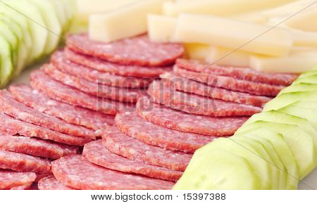 Salami, Cheese And Cucumber Plate