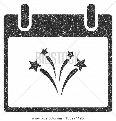 Fireworks Calendar Day grainy textured icon for overlay watermark stamps. Flat symbol with dirty texture. Dotted glyph gray ink rubber seal stamp with grunge design on a white background.