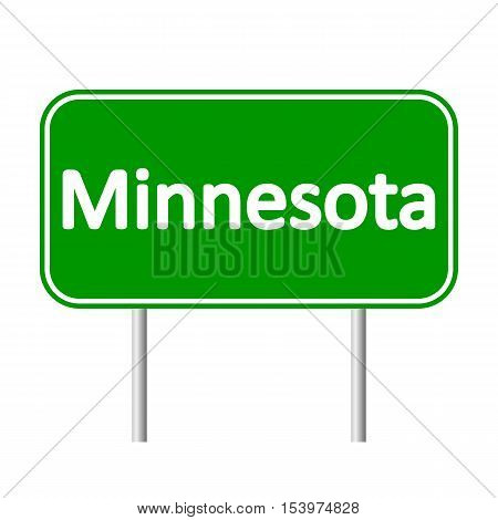 Minnesota green road sign isolated on white background