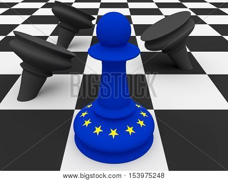 EU Flag Pawn Defeating Black Pawns 3d illustration