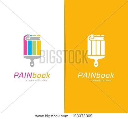 Vector of book and paintbrush logo combination. Bookstore and library symbol or icon. Unique brush and education logotype design template.