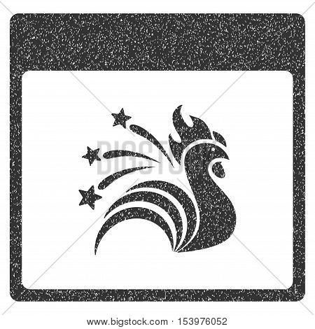 Sparkle Rooster Calendar Page grainy textured icon for overlay watermark stamps. Flat symbol with dust texture. Dotted glyph gray ink rubber seal stamp with grunge design on a white background.