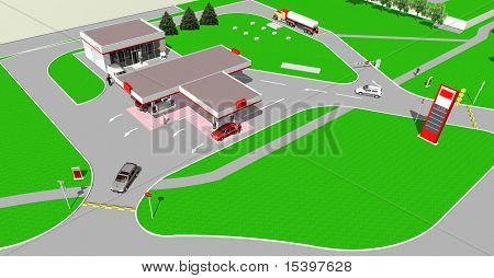 Complexa de estação de gasolina