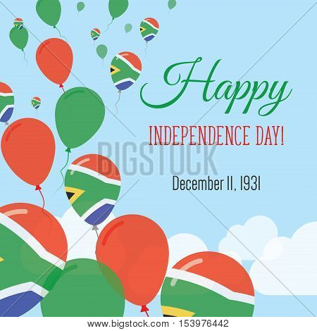 Independence Day Flat Greeting Card. South Africa Independence Day. South African Flag Balloons Patr