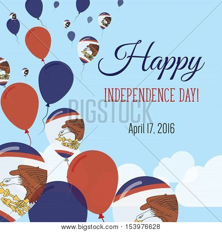 Independence Day Flat Greeting Card. American Samoa Independence Day. American Samoan Flag Balloons