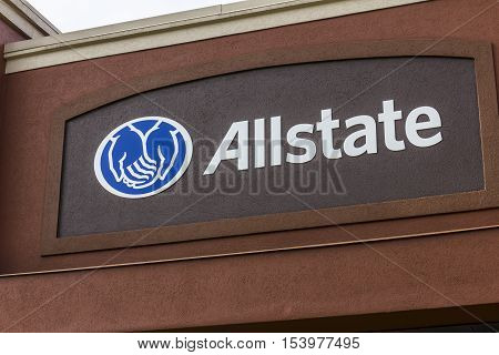 Indianapolis - Circa October 2016: Allstate Insurance Logo and Signage. The Allstate Corporation is the second largest personal lines insurer in the US I