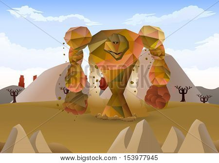illustration of a giant raging stone monster on nature background
