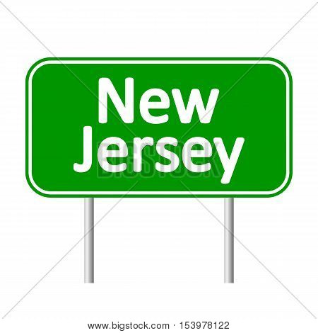New Jersey green road sign isolated on white background