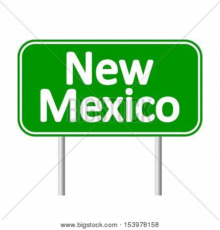 New Mexico green road sign isolated on white background