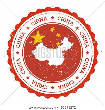 China Map And Flag In Vintage Rubber Stamp Of State Colours. Grungy Travel Stamp With Map And Flag O