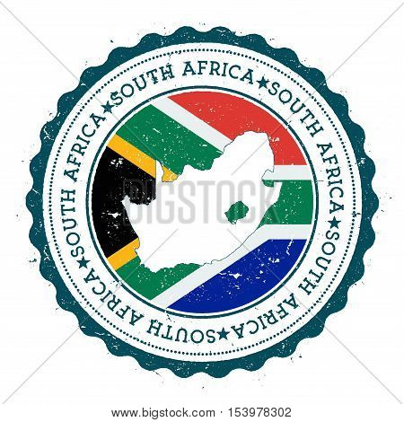 South Africa Map And Flag In Vintage Rubber Stamp Of State Colours. Grungy Travel Stamp With Map And