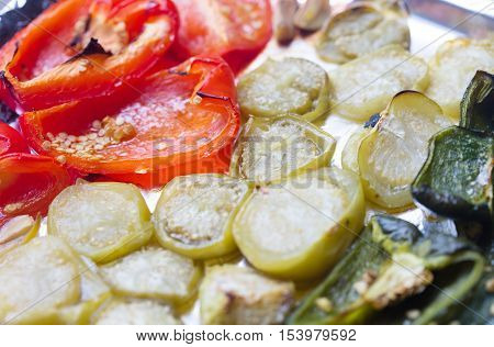 Closeup of a variety of roasted vegetables from the oven