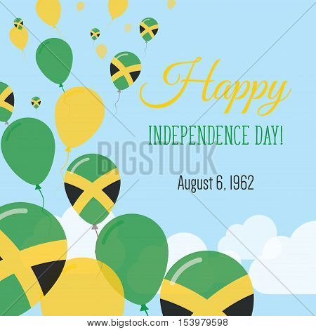 Independence Day Flat Greeting Card. Jamaica Independence Day. Jamaican Flag Balloons Patriotic Post
