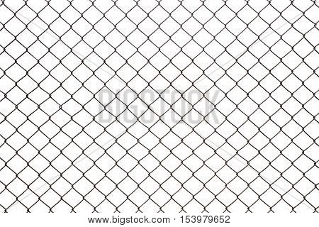 steel mesh wire fence isolated on white background