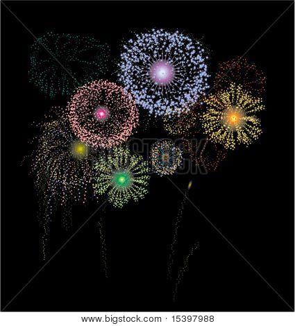 Os fogos de artifício. Ilustração vetorial
