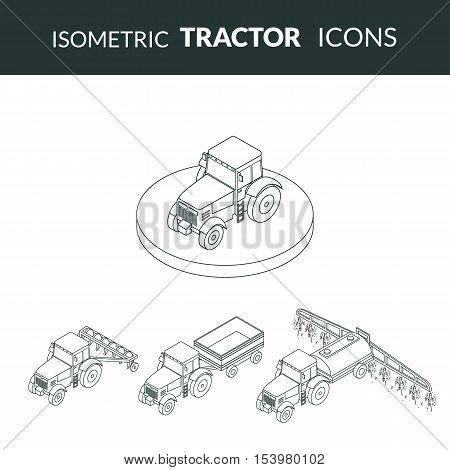 vector illustration. set of agricultural contour outline icons. Farm tractor with plow trailer sprayed with insecticides. 3D isometric