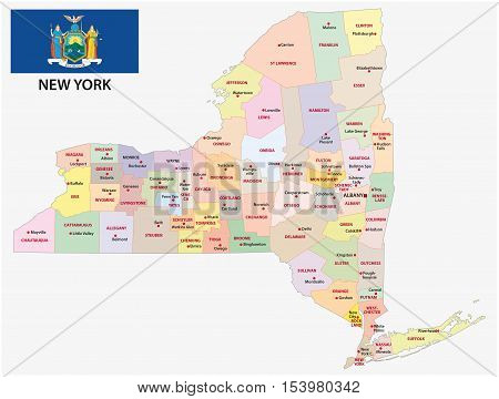 administrative and political map of the US state New York with flag