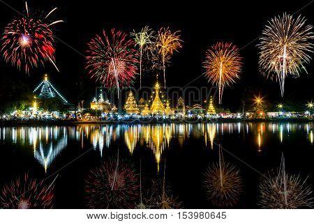 firework at Wat Chong Klang.Mae Hongson Thailand