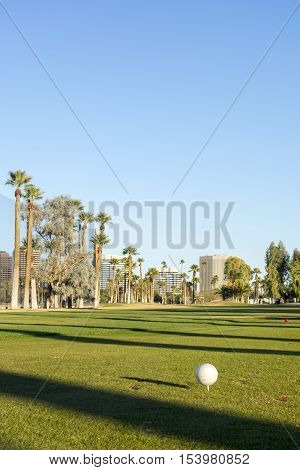 Golf course white balls spread all over grass in Encanto par Phoenix downtown Arizona in Winter.