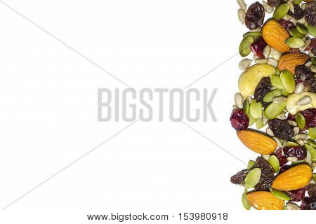 Trail Mix On The White Background.