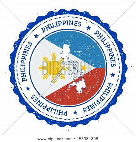 Philippines Map And Flag In Vintage Rubber Stamp Of State Colours. Grungy Travel Stamp With Map And