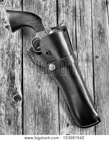 American cowboy 45 pistol in black and white.