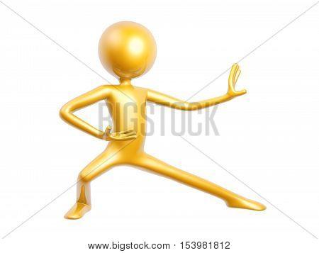 golden kungfu guy pose isolated on white background 3d illustration