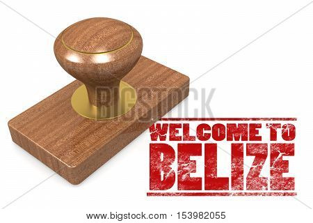Red Rubber Stamp With Welcome To Belize