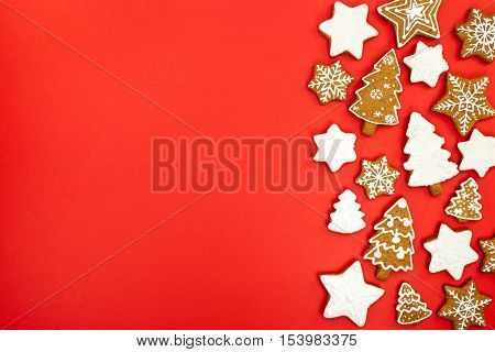 Christmas Gingerbread Cookies On Red Background