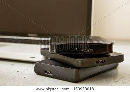 External Hard Disks And Laptop Keyboard