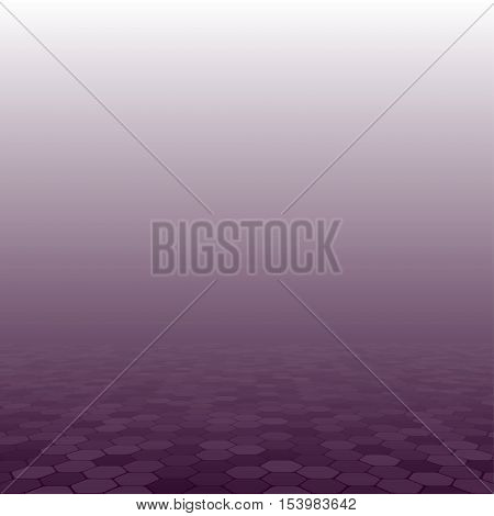 Mosaic Tile Honeycomb Vector Background. Perspective Comb Halftone Fone. Purple Background. Vector illustration for Web Design.
