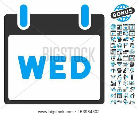 Wednesday Calendar Page icon with bonus calendar and time management images. Glyph illustration style is flat iconic bicolor symbols blue and gray colors white background.