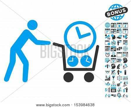 Clock Shopping icon with bonus calendar and time management graphic icons. Glyph illustration style is flat iconic bicolor symbols, blue and gray colors, white background.