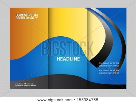 Vector empty tri-fold brochure print template design, trifold booklet or flyer