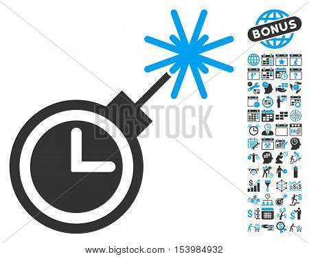 Time Bomb icon with bonus calendar and time management symbols. Glyph illustration style is flat iconic bicolor symbols, blue and gray colors, white background.
