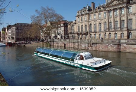 Tour Boat On Canal In Strasbourg, France