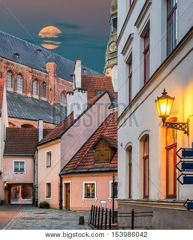 Fairy-tale view of medieval yard in old European townRiga offers for tourists unique architectural Gothic ensembles and rare ancient buildings, all this create unforgettable atmosphere of the Middle Ages, Latvia, Europe.