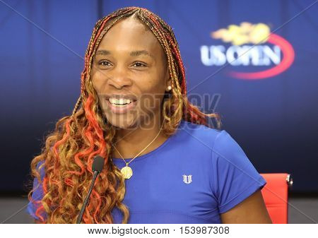 NEW YORK - AUGUST 30, 2016: Grand Slam champion Venus Williams of United States  during press conference after her first round match at US Open 2016 at Billie Jean King National Tennis Center